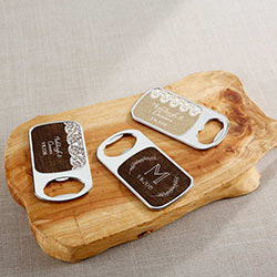 Personalized Silver Bottle Opener - Rustic Charm Wedding