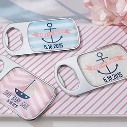 Personalized Silver Bottle Opener - Nautical Baby Shower