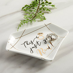 This Just Got Real Ceramic Trinket Dish with Gold Foil