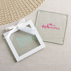 Personalized Glass Coasters - Custom Logo (Set of 12)