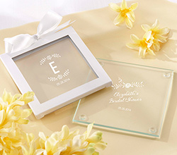 Personalized Glass Coaster - Rustic Bridal Shower (Set of 12)