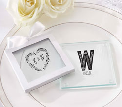Personalized Glass Coaster - Rustic Wedding (Set of 12)