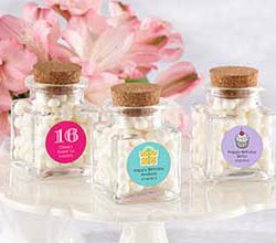 """Petite Treat"" Personalized Square Glass Favor Jar with Cork Stopper-Set of 12 (Birthday)"
