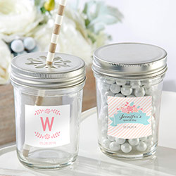Personalized 8 oz. Glass Mason Jar - Kates Rustic Bridal Shower Collection (Set of 12)