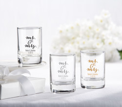 Personalized 2 oz. Shot Glass/Votive Holder - Mr. & Mrs.