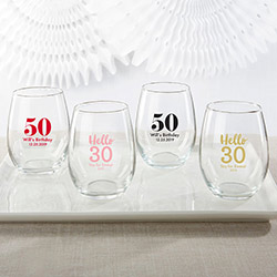 Personalized 9 oz. Stemless Wine Glass - Milestone Birthday