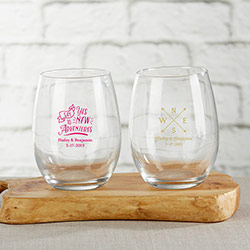 Personalized 9 oz. Stemless Wine Glass - Travel & Adventure