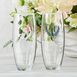 Personalized 9 oz. Stemless Champagne Glass - Botanical Garden