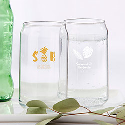 Personalized 16 oz. Beer Can Glass - Pineapples & Palms