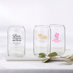 Personalized 16 oz. Beer Can Glass - Wedding