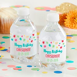 Personalized Water Bottle Labels - Happy Birthday